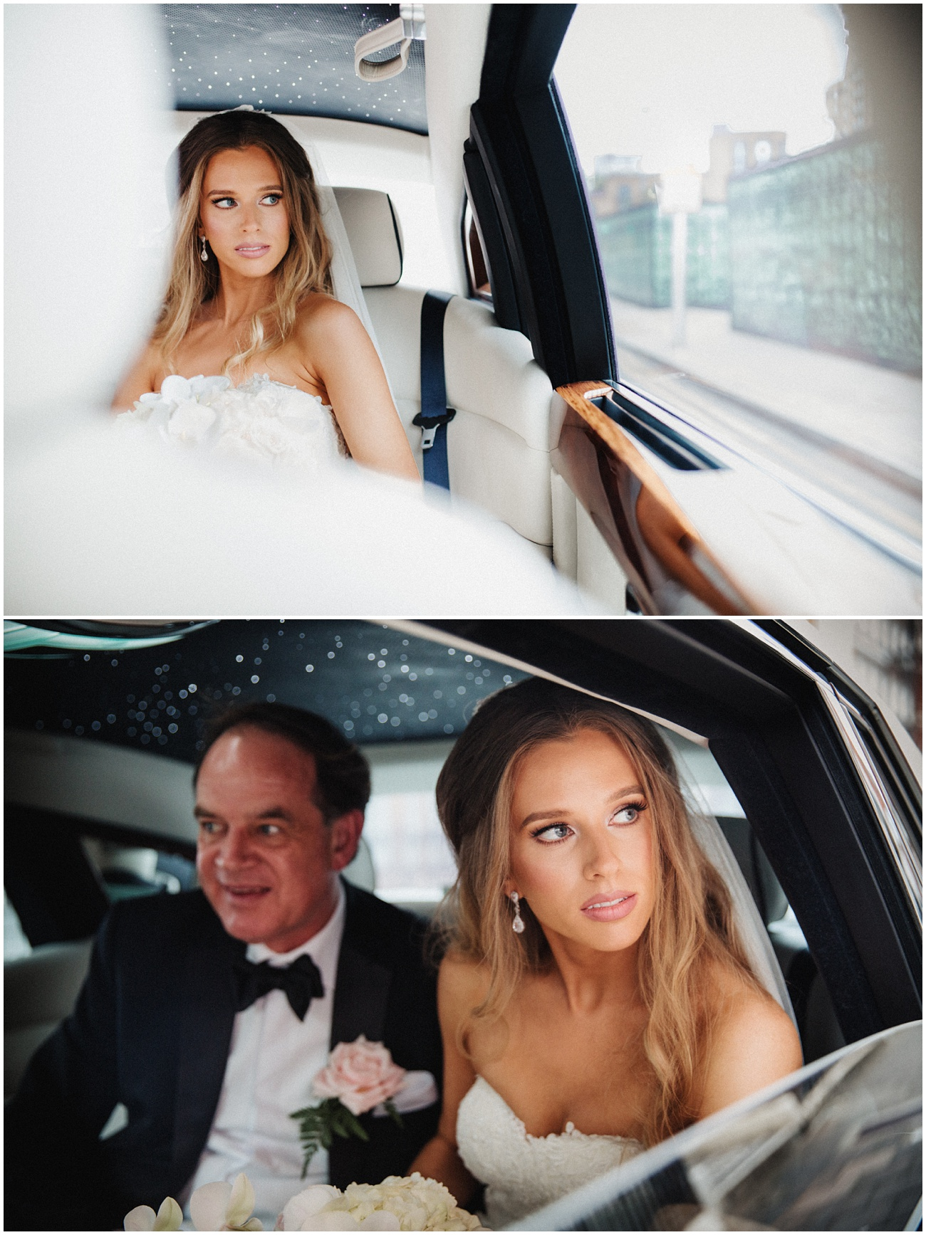 The bride sitting inside her wedding car with her dad looking out of the window