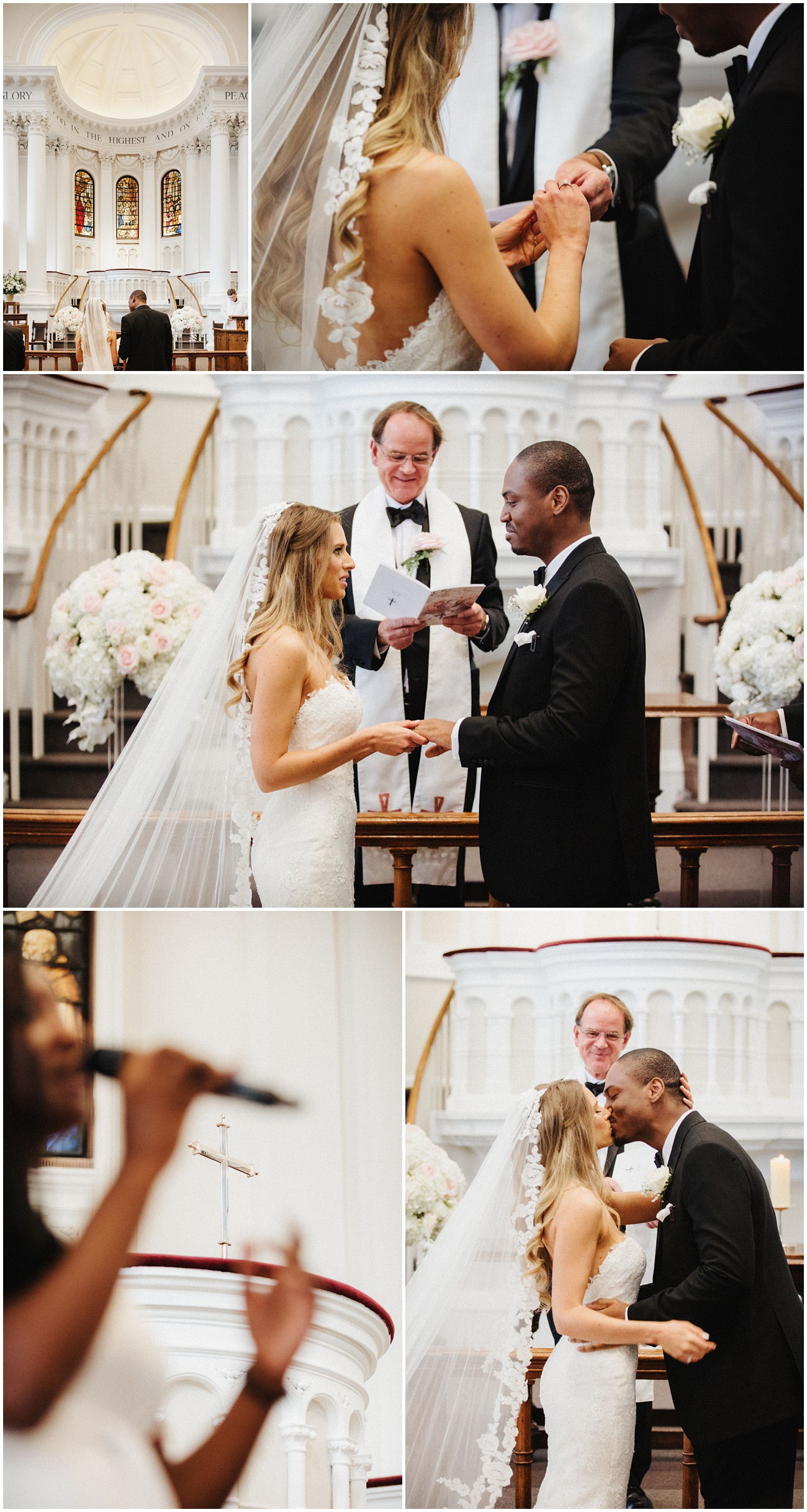 The bride and groom exchange wedding rings during the ceremony and then kiss while a guest sings