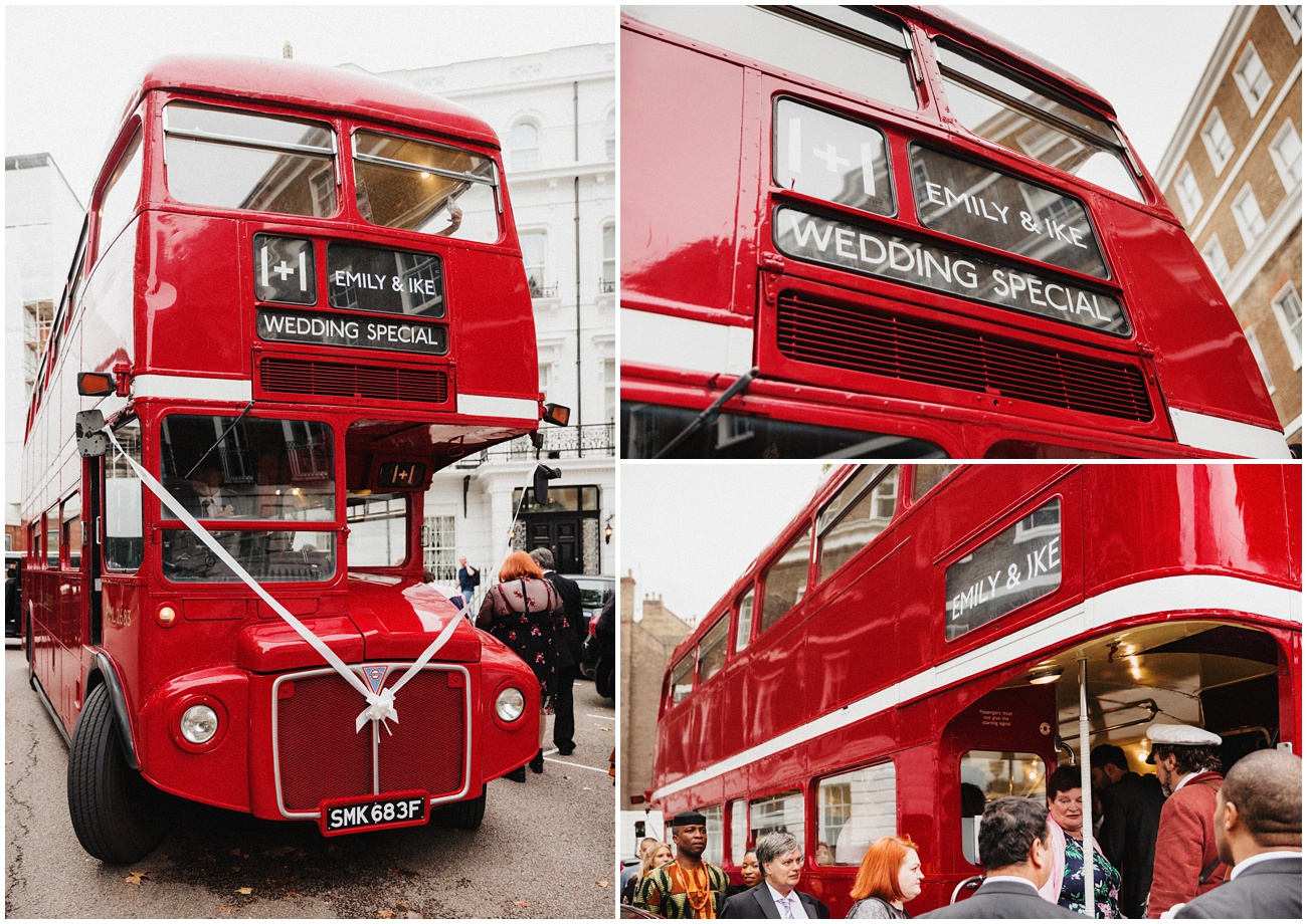A red double decker London bus collects the wedding guests