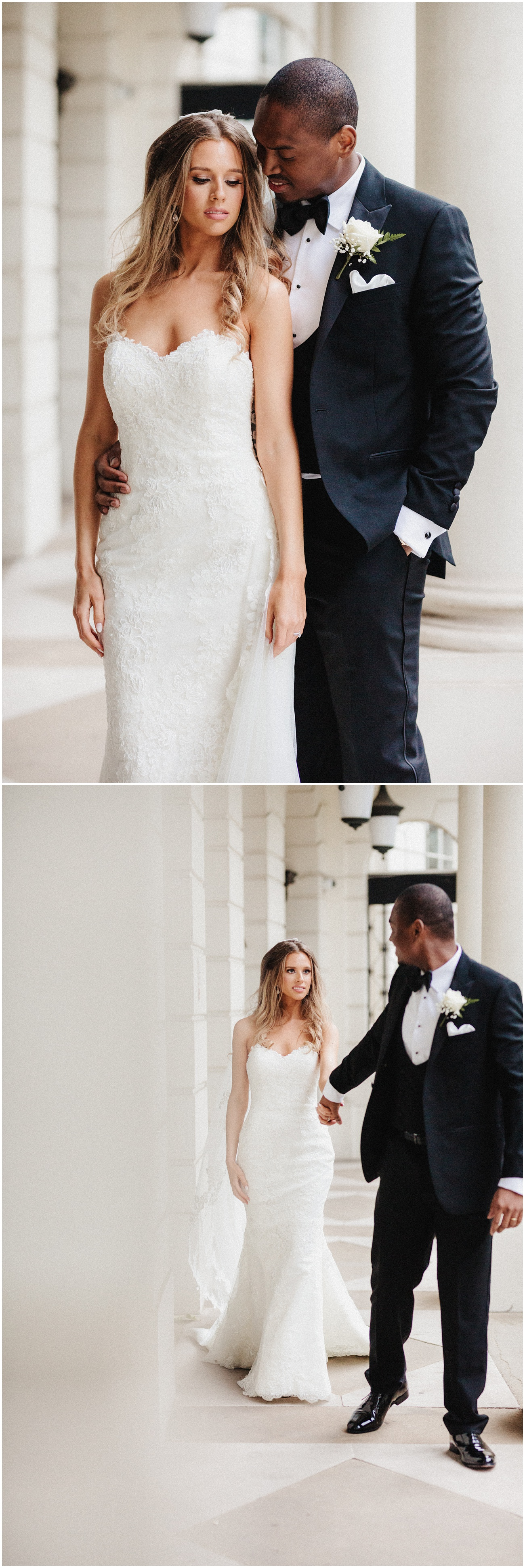 The groom looks towards the bride and then leads her away through the white concrete pillars