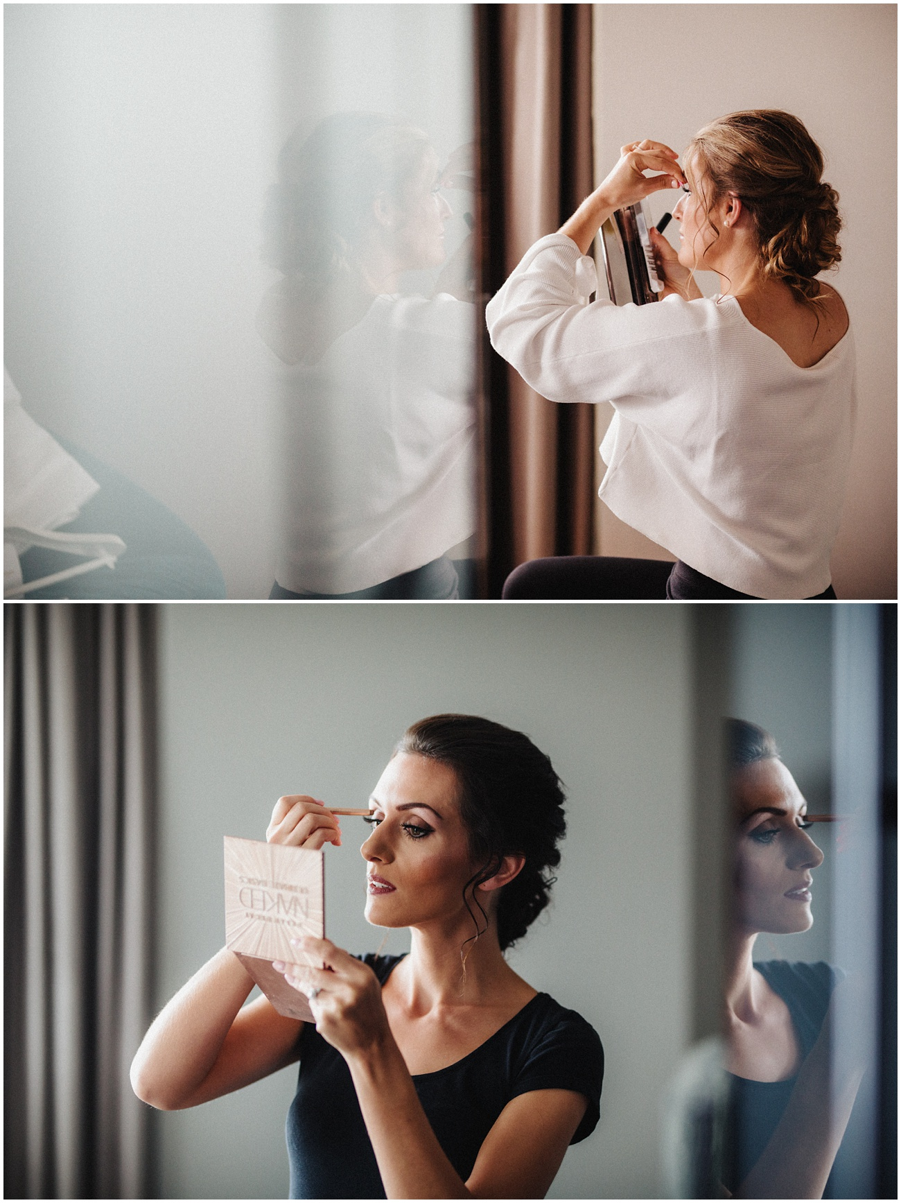 The bridesmaids putting makeup on using a small handheld mirror