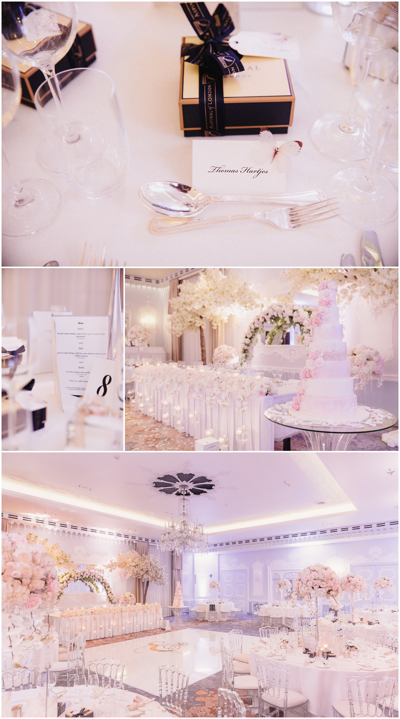 The wedding reception details including the cake, flowers, menus and the decorated tables and chairs