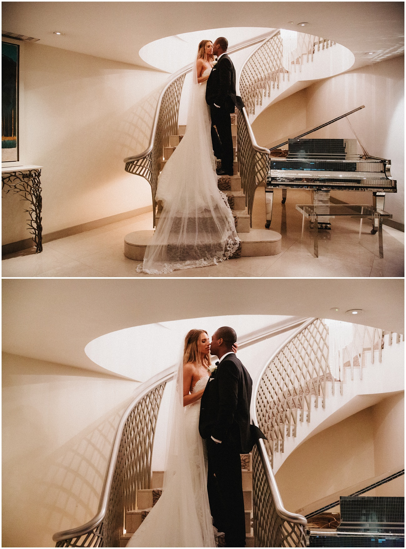 The bride and groom stand on the stairs at the Dorchester Hotel in London and look at each other posing for the camera