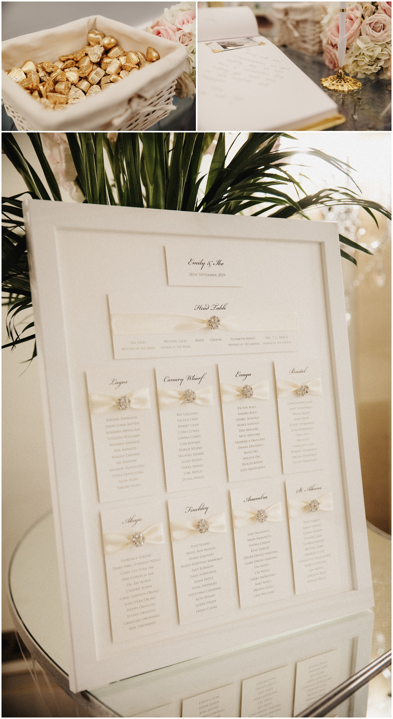 Wedding details including the guest book, chocolates and seating plan
