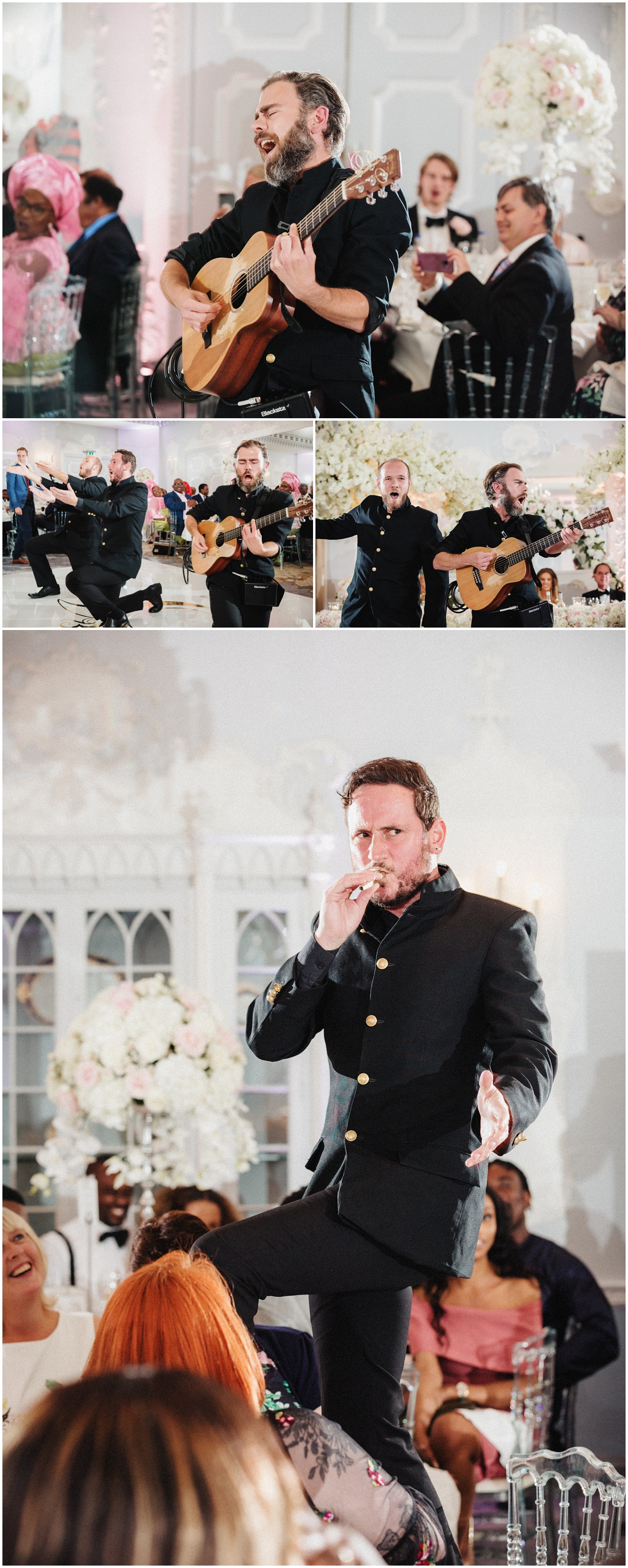 Portraits of singing waitors during  the wedding reception in the Orchid room at the Dorchester Hotel