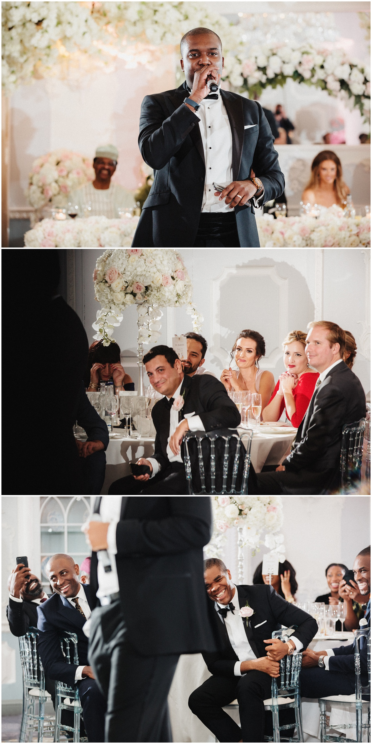 The best man gives his humorous speech to happy wedding guests