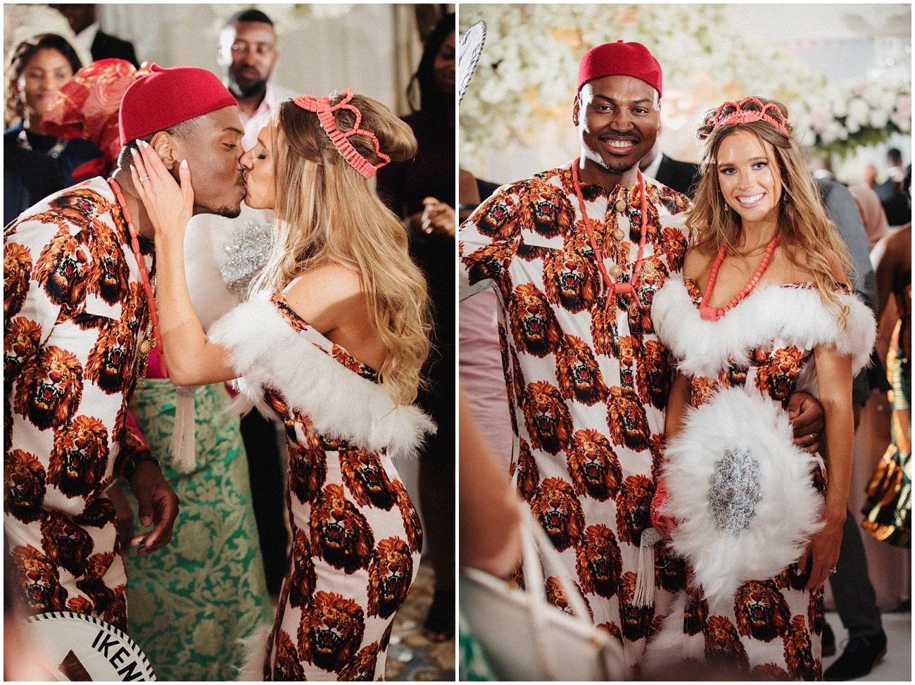 The bride and groom kissing and posing for the camera in their Nigerian wedding outfits