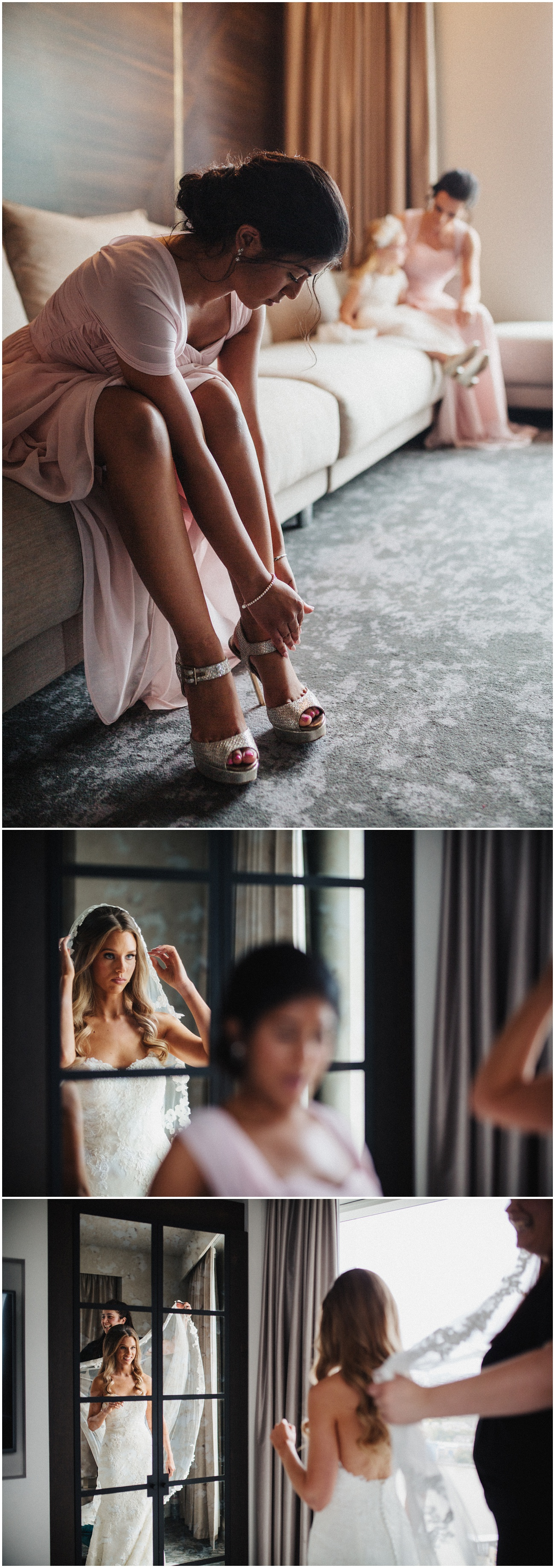 The bridesmaid putting her shoes on and the bride wearing her wedding dress putting her veil on