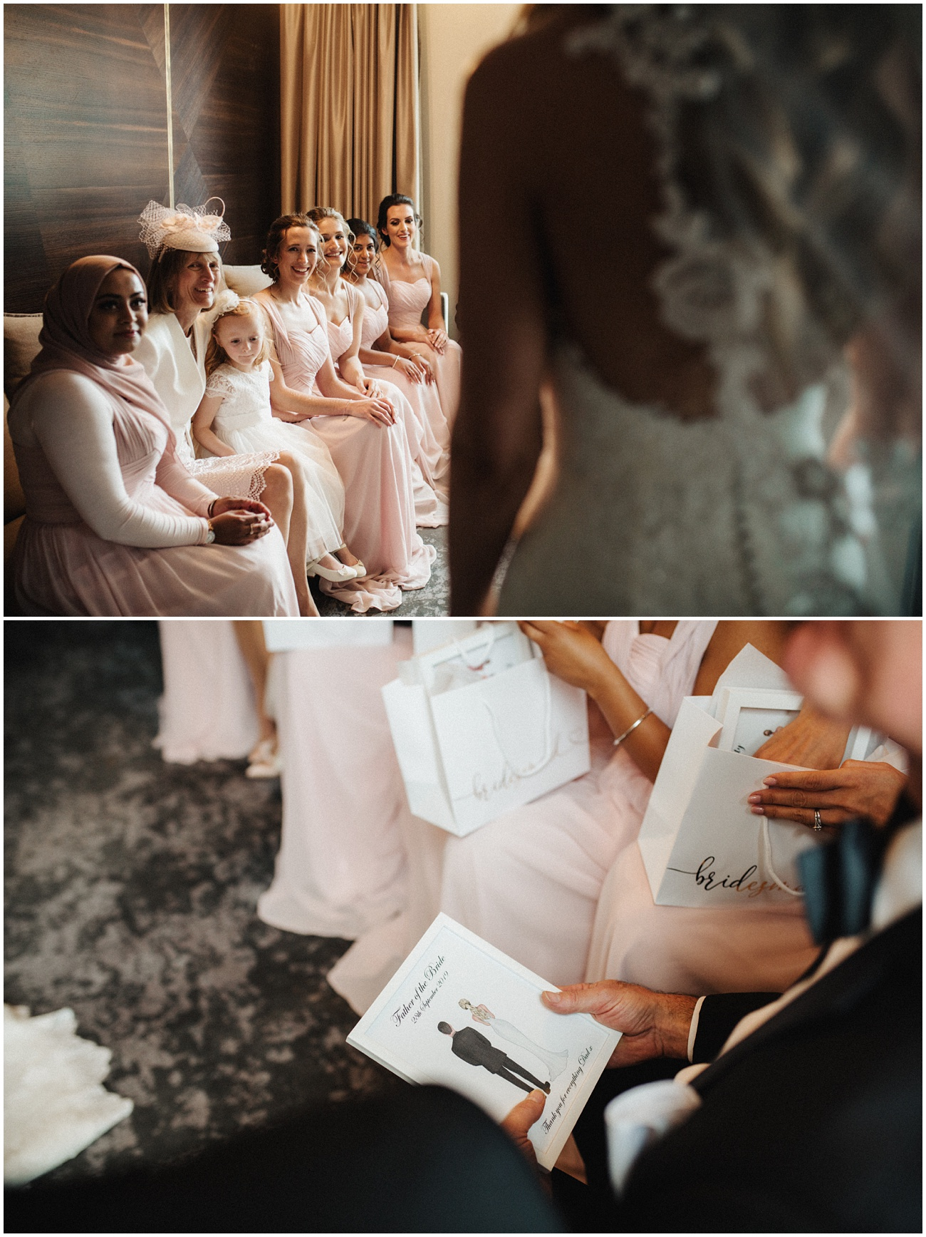 The bride shows her wedding dress to her happy bridesmaids and then receive wedding gifts to open