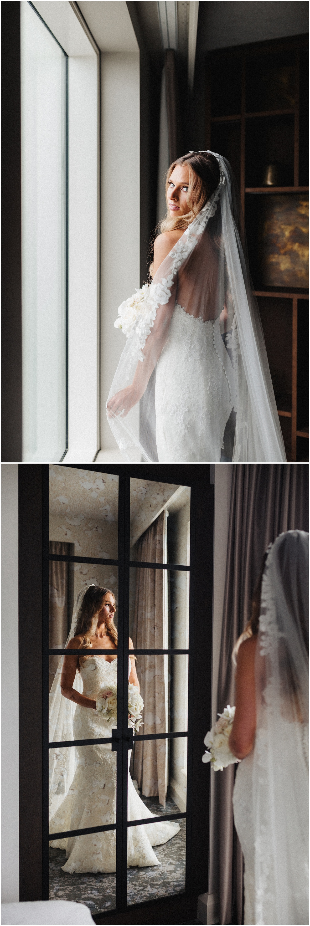 Portraits of the bride standing by the window holding her flowers