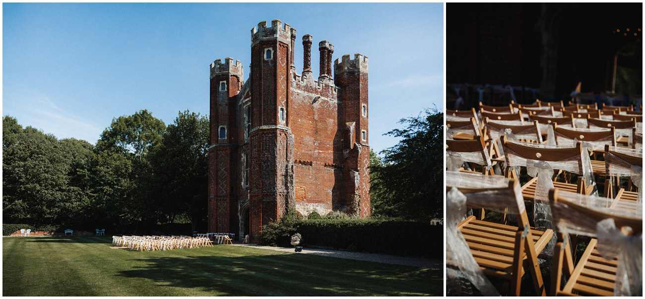 Leez priory exterior shot of the tower and outdoor wedding setup