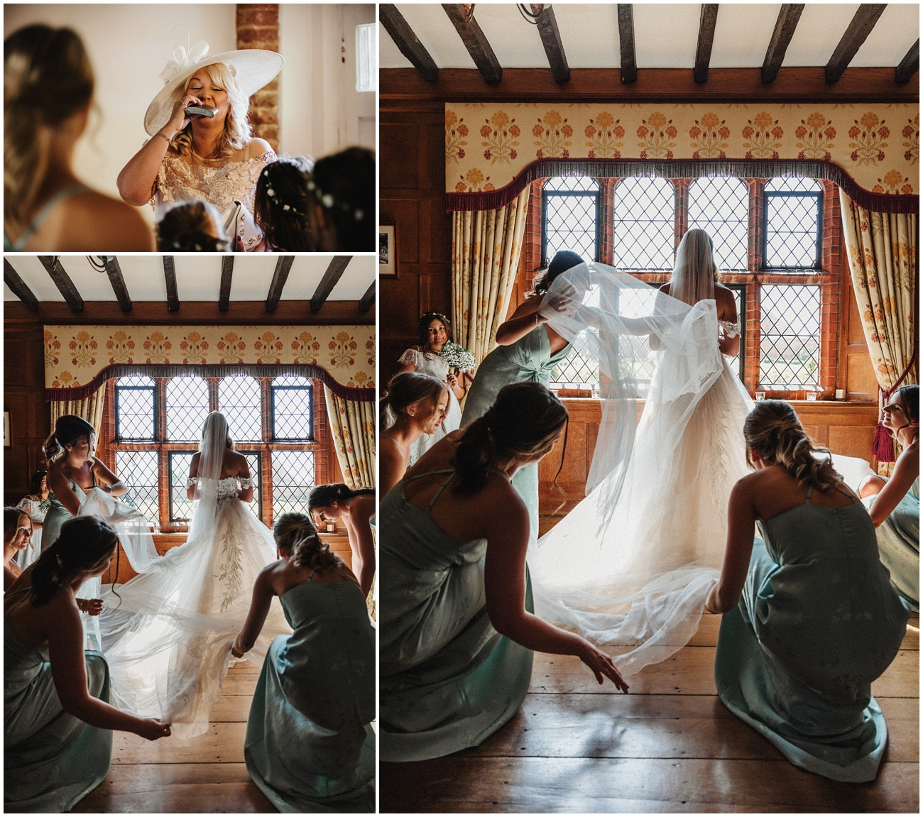 The bridesmaids adjust the brides wedding dress at Leez Priory