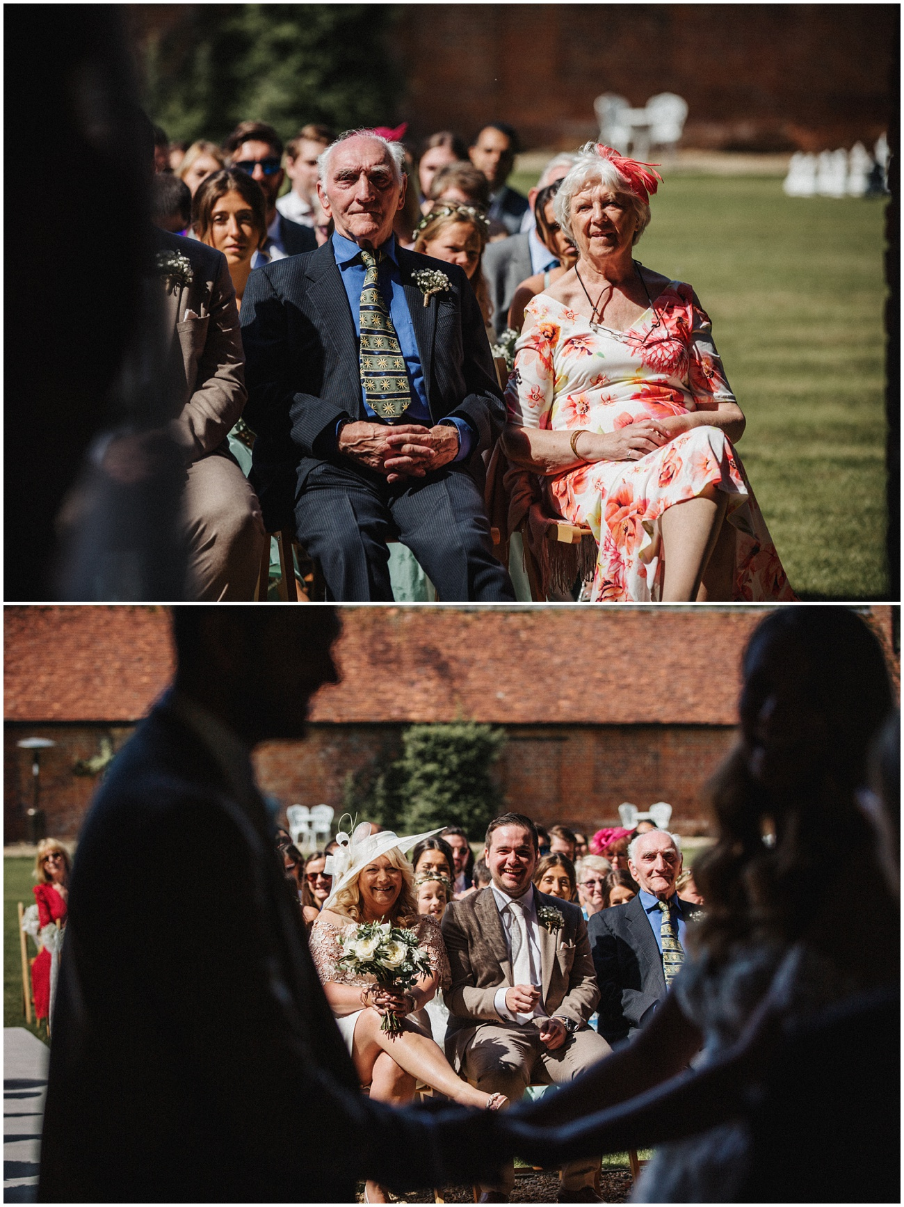 Wedding guests laugh and watch the couple tie the knot at the alter