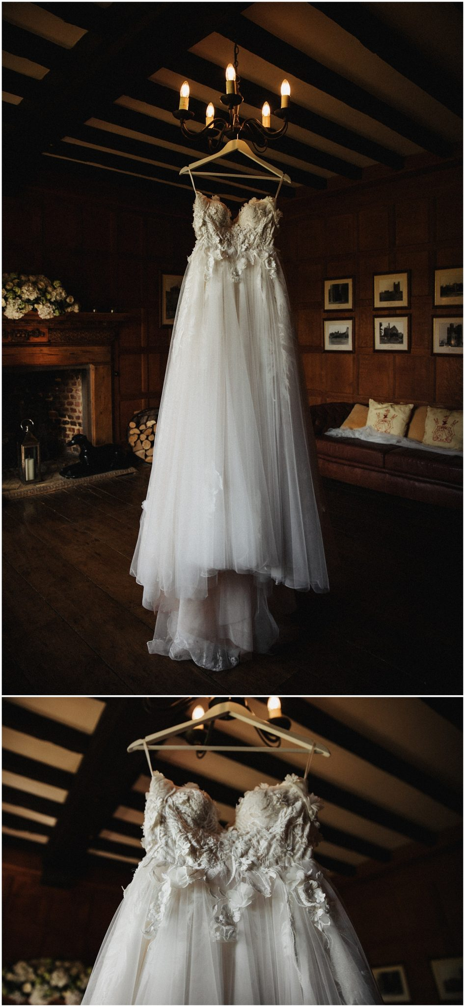 The brides wedding dress hanging from a chandelier at Leez Priory