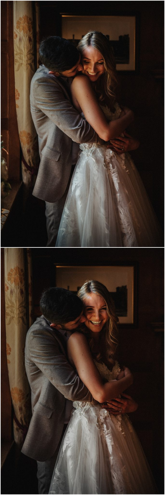 Bride and groom hold each other and laugh