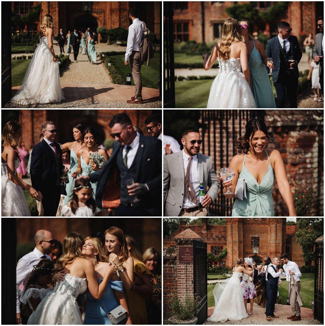 Wedding guests head towards the wedding breakfast