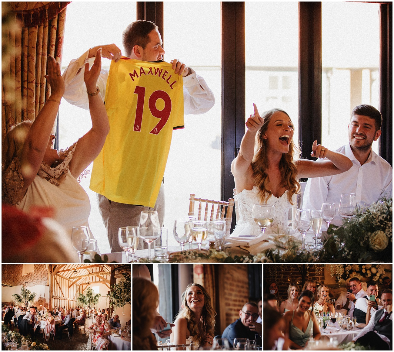 Best man shows the groom a Watford shirt during the speeches