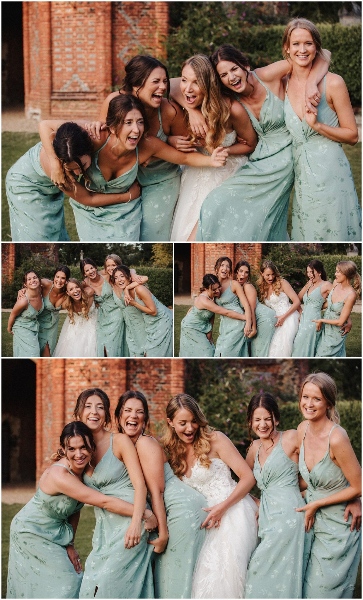 Bride and her bridesmaids have fun together