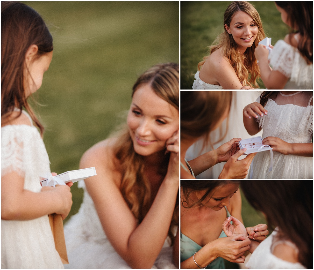 Bride gives the flower girl a gift