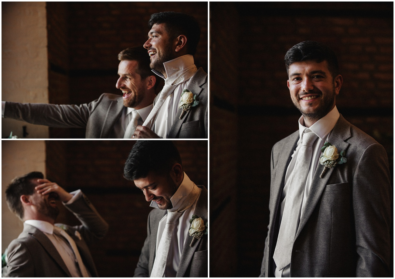 The groomsmen get ready and laugh