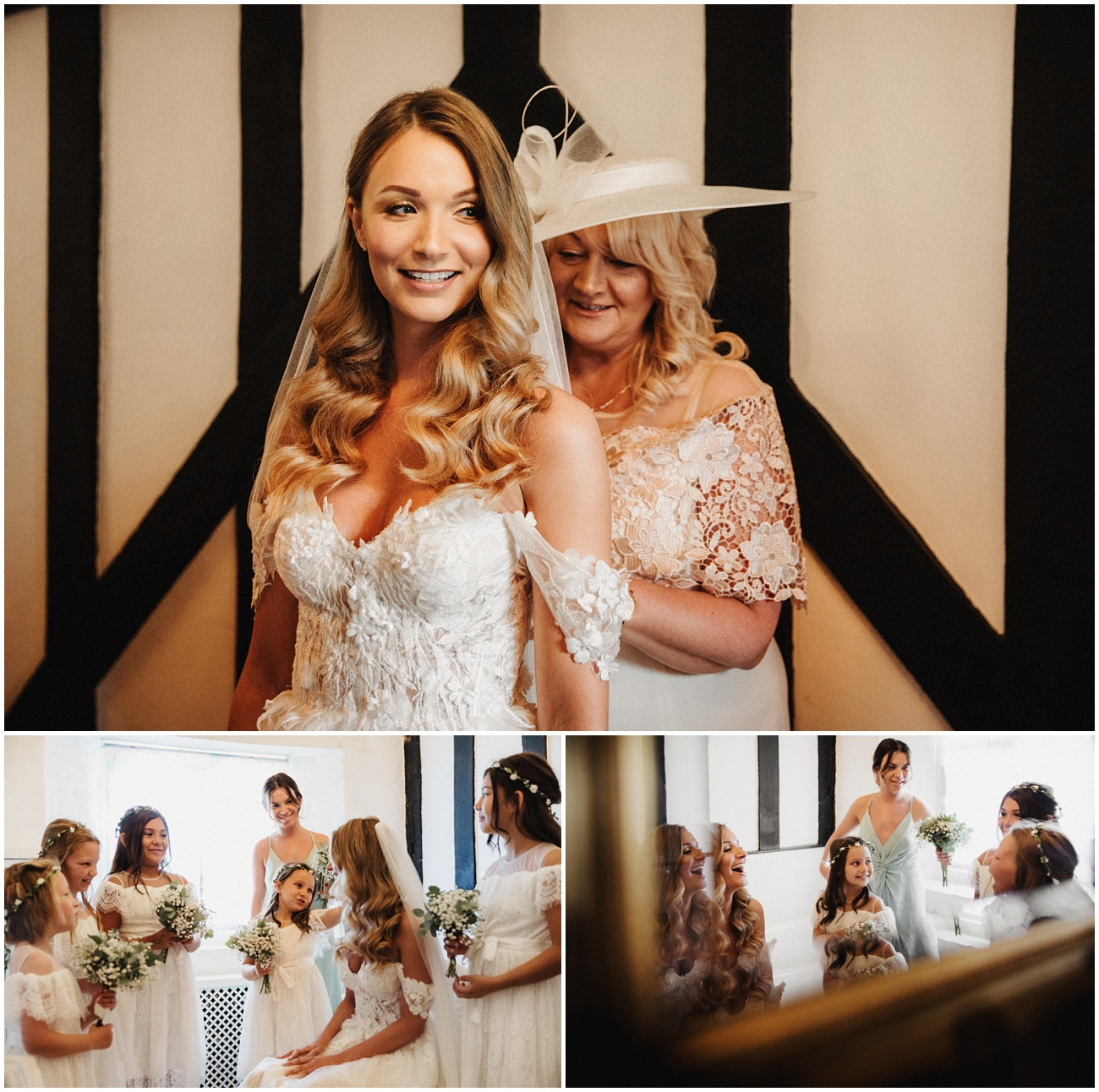 Mum helps her daughter with the finishing touches of her wedding dress and also shares a joke with the bridal party