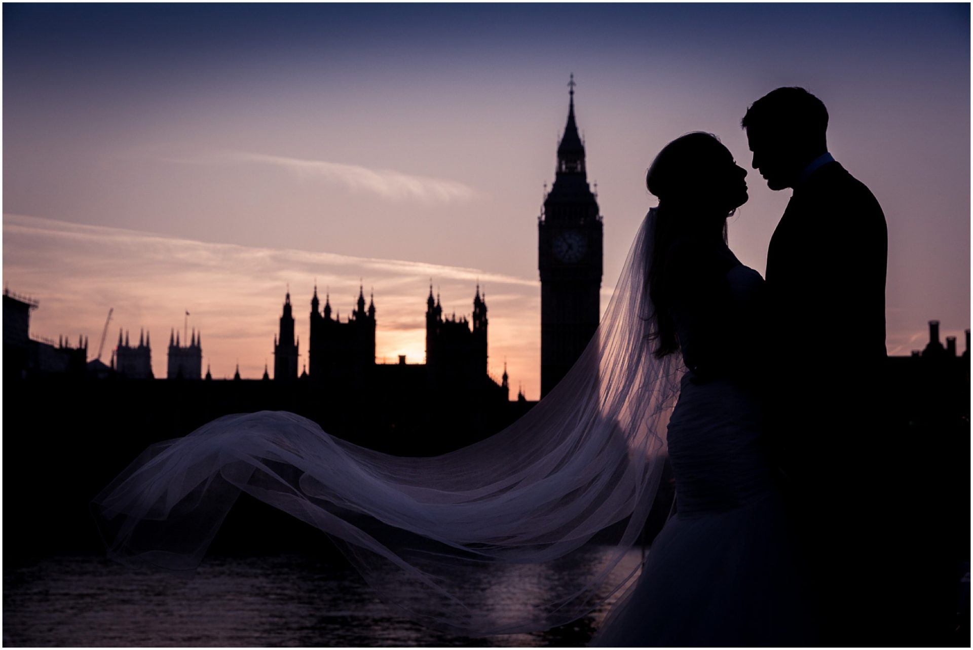Silhouette-of-bride-and-groom-outside-big-ben-in-London