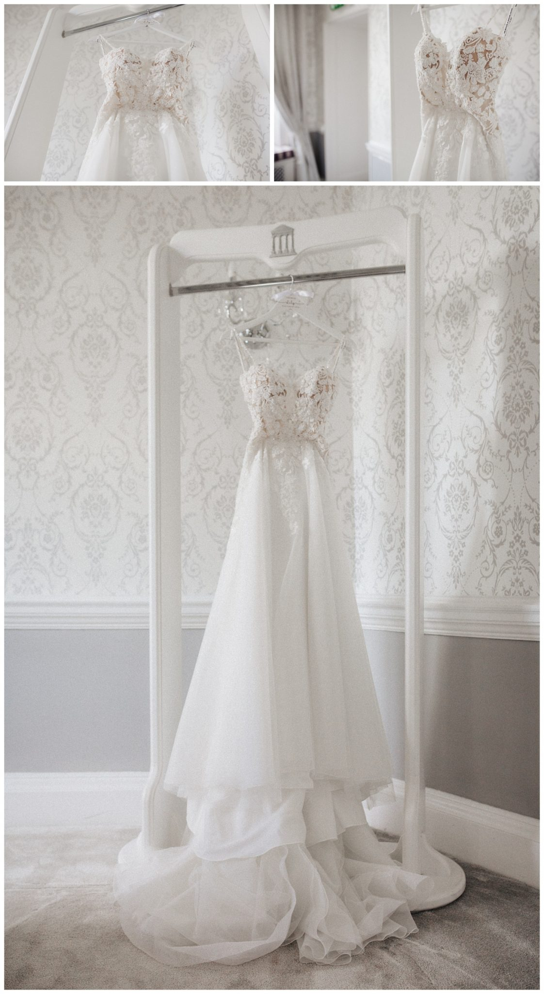 Wedding dress hanging in the bridal suite at Moor Park Mansion