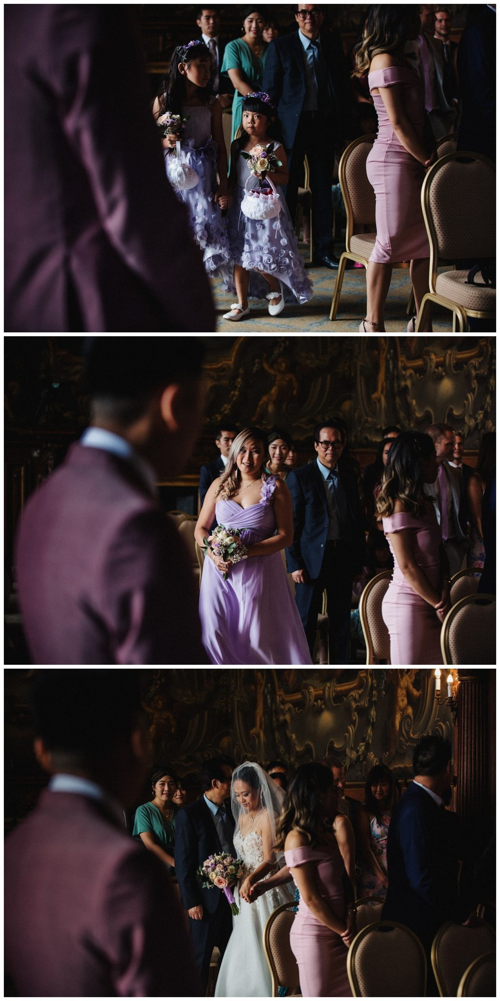 The bridal party make their entrance into the ceremony room and down the aisle.