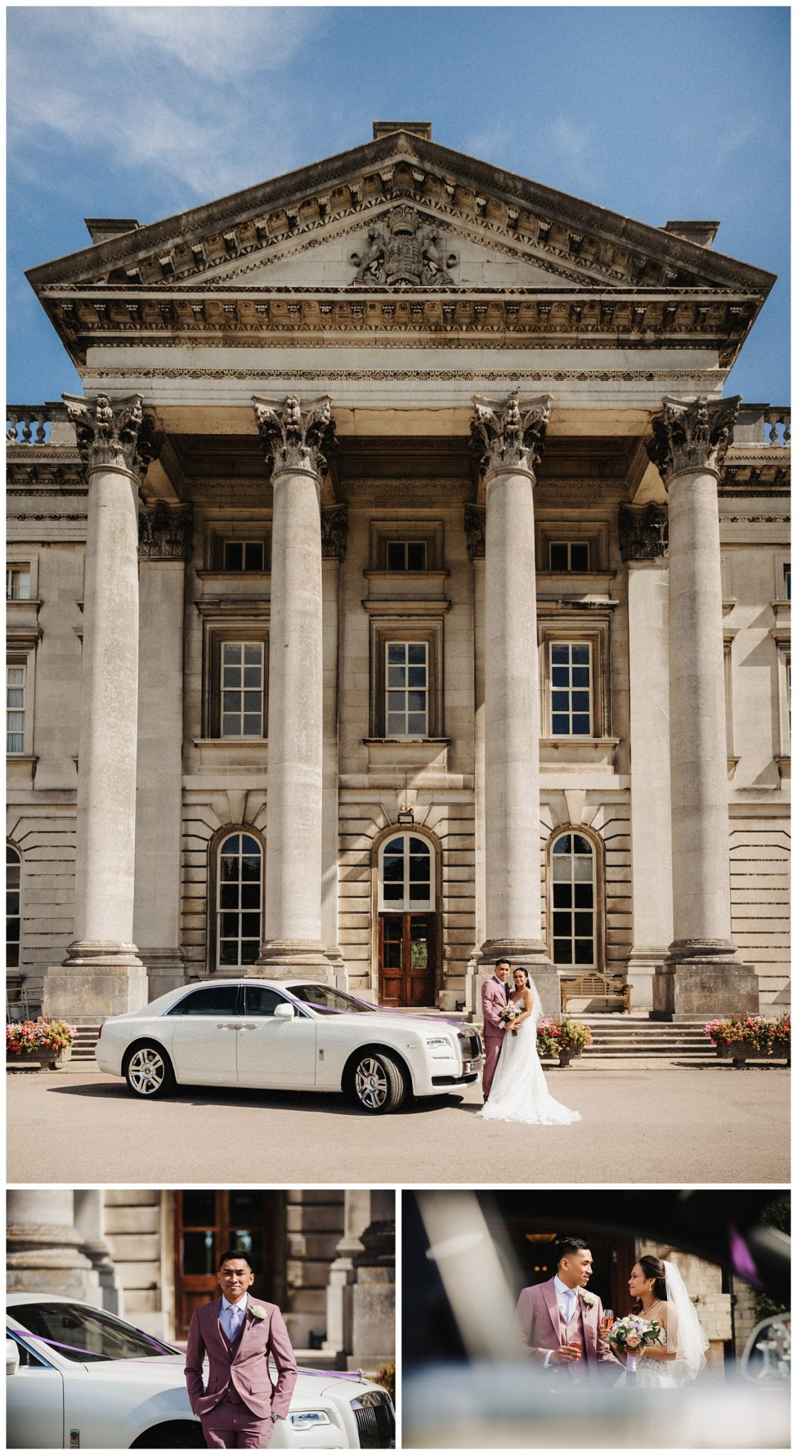 The bride and groom pose by their wedding car outside the Moor Park Mansion