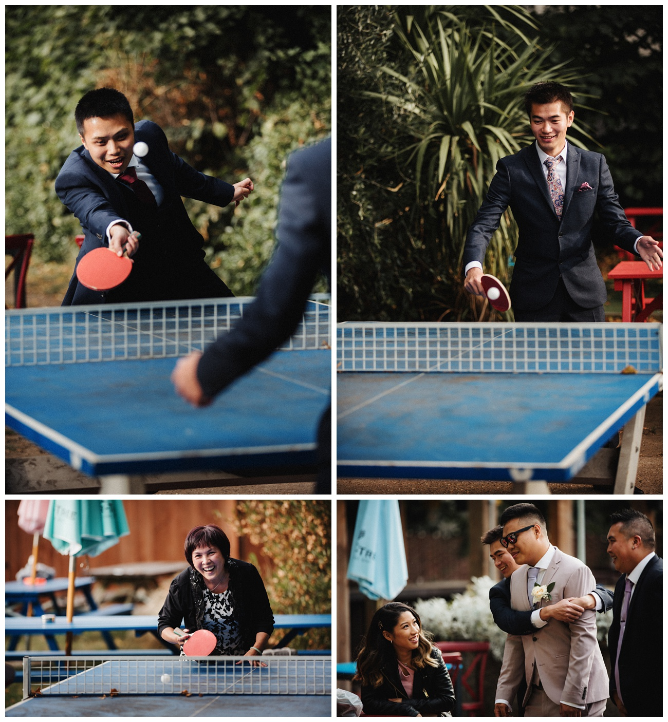 Wedding guests play table tennis outside in the gardens