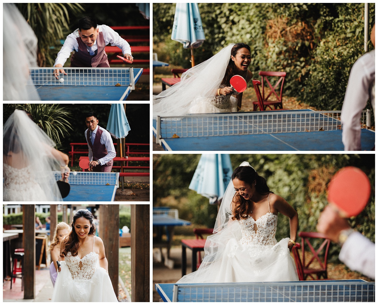 The bride and groom play table tennis in the gardens