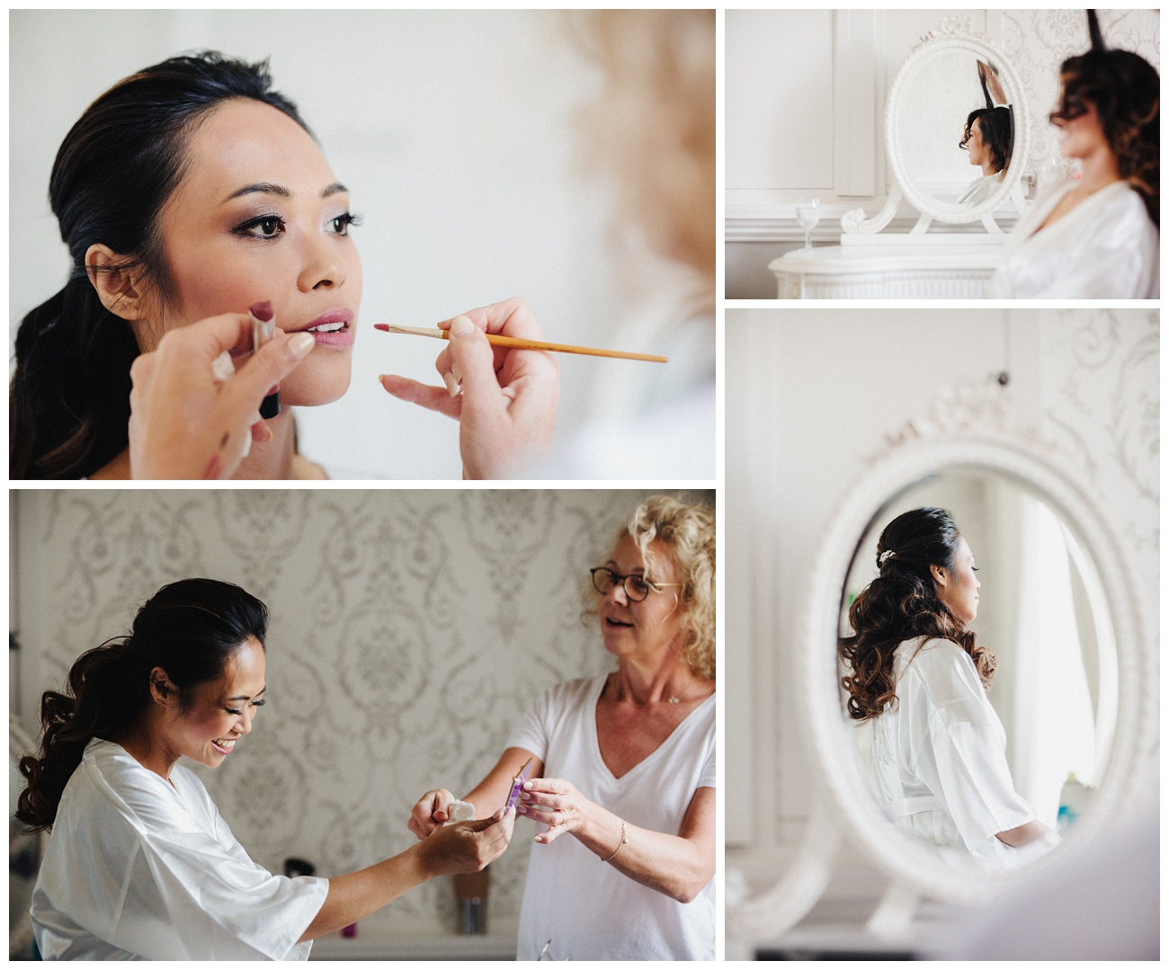 Bride having her hair and makeup done in the bridal suite at Moor Park Mansion
