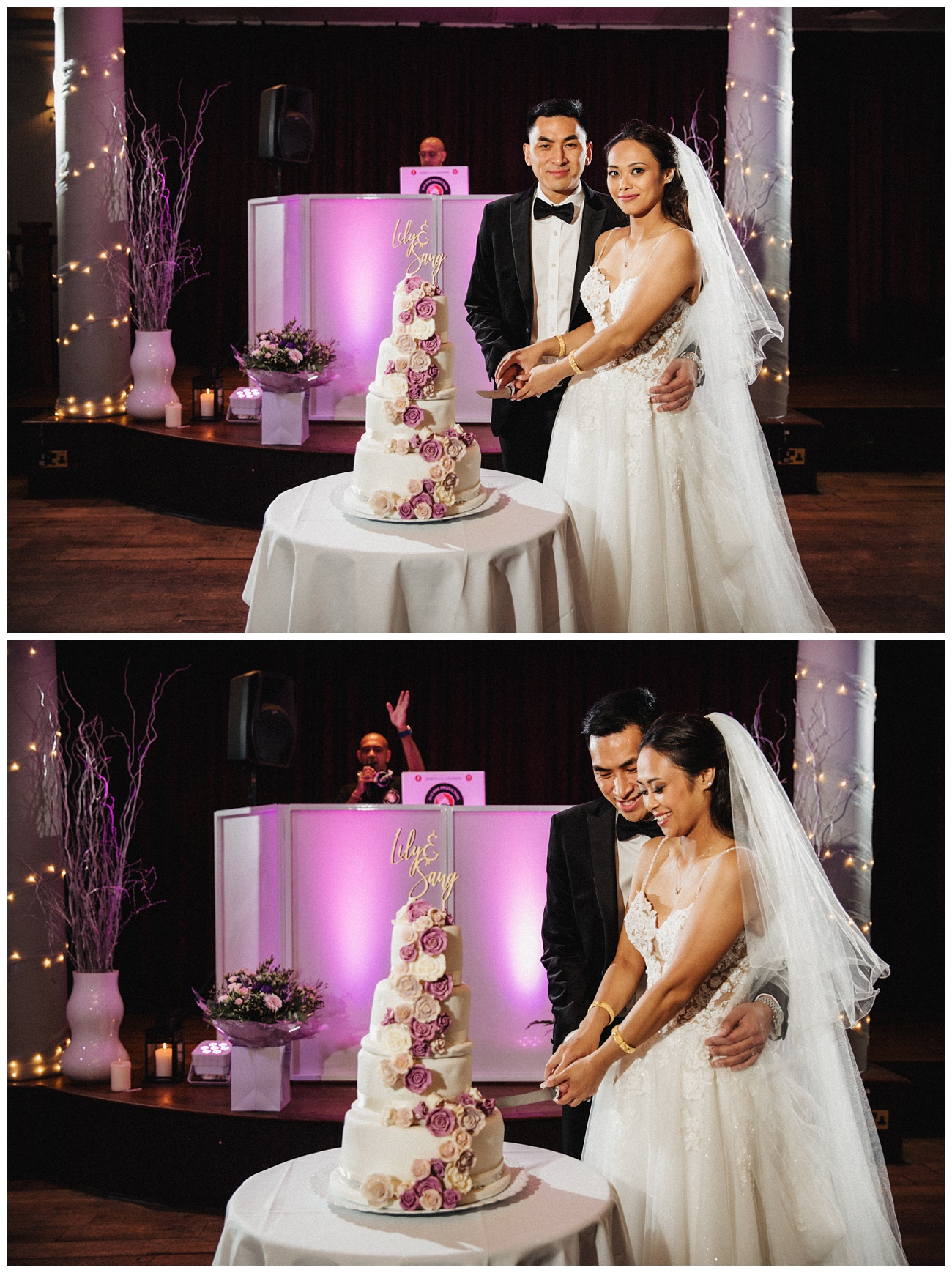 The cutting of the cake inside the reception room