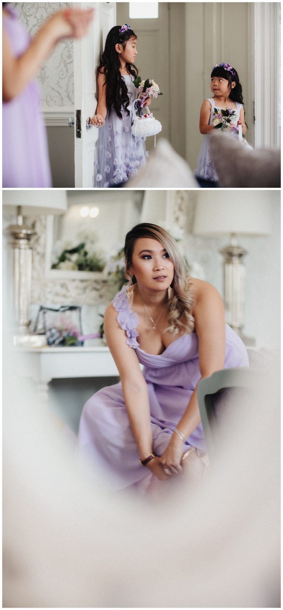 Pictures of the bridesmaids and the flower girls in their lilac dresses