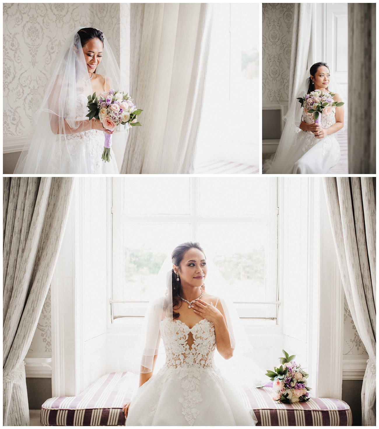The bride having her portraits in the bridal suite with her wedding dress, flowers and veil on