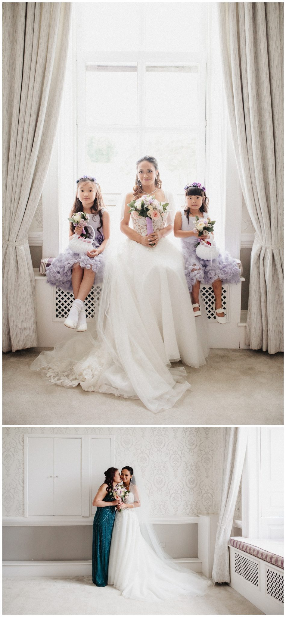 The bride posing with her mum and the 2 flower girls in the bridal suite