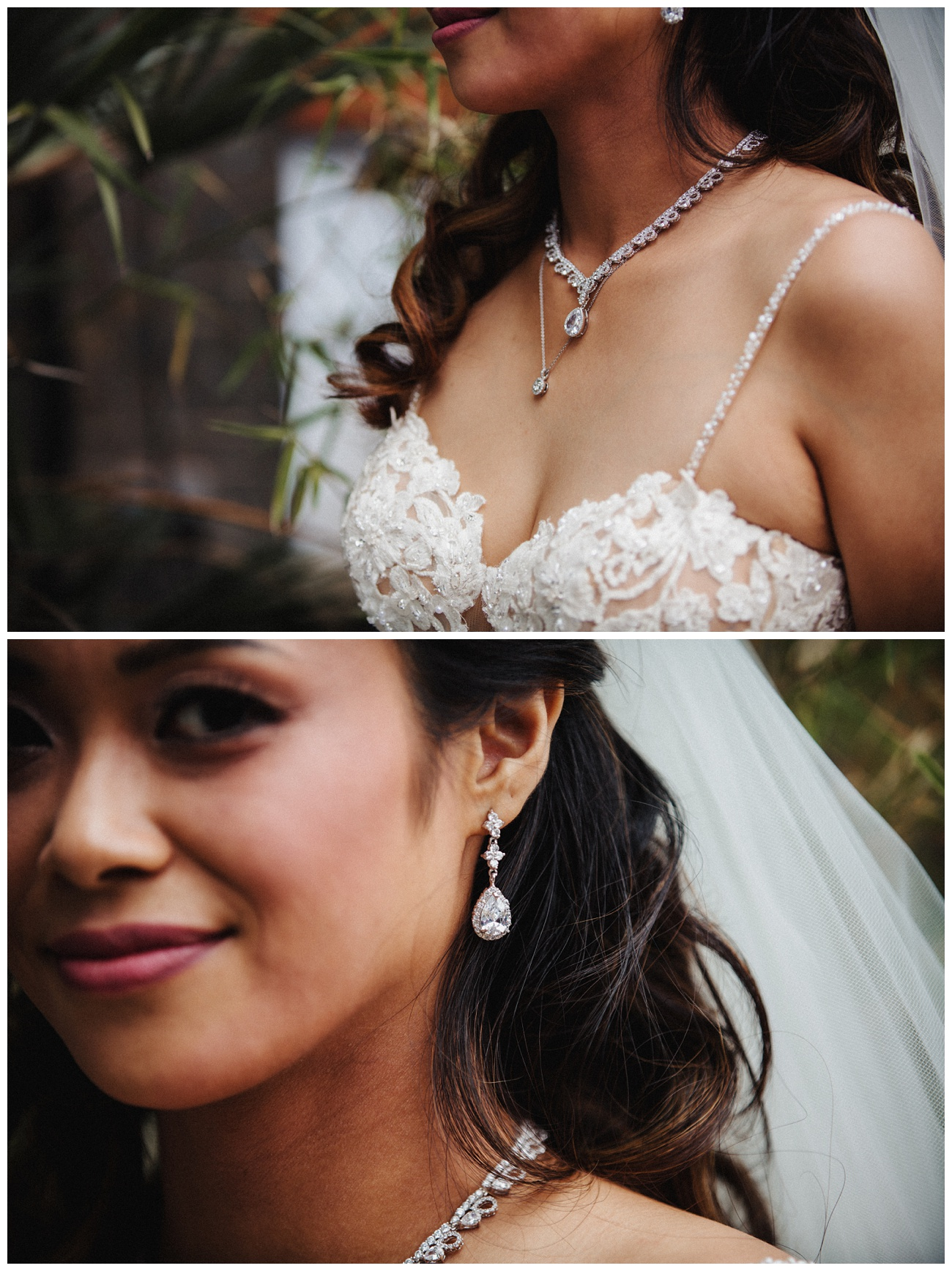 A portrait of the bride wearing her jewellery
