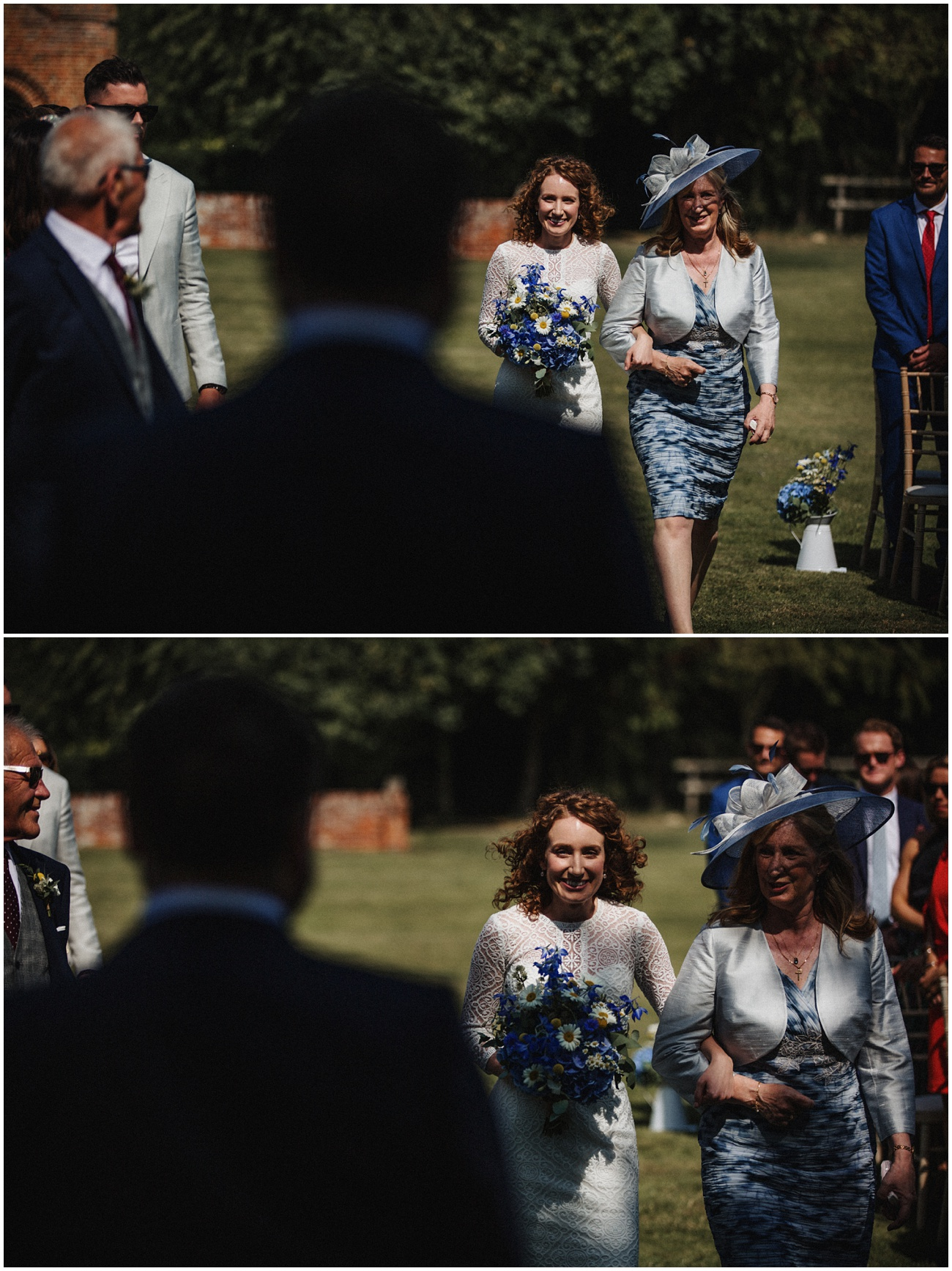 The bride and her mum walk down the aisle as she sees the groom for the first time.