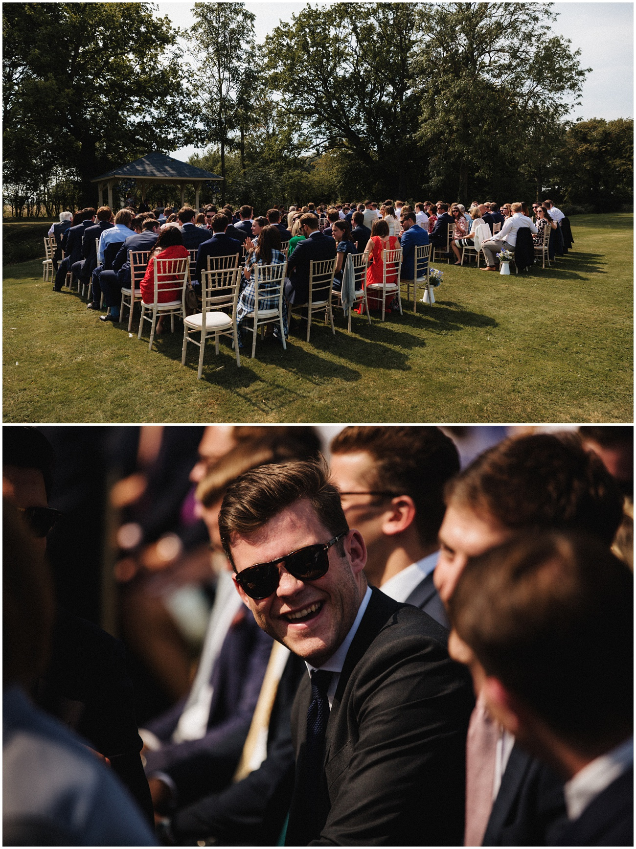 The wedding guests enjoy the sunshine as they sit during the ceremony