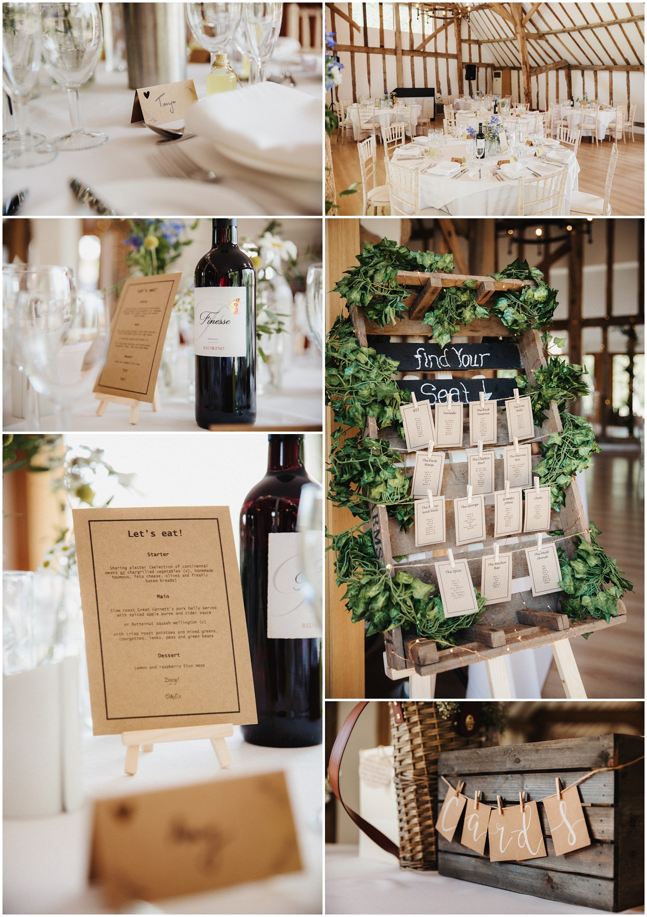 The wedding breakfast room details