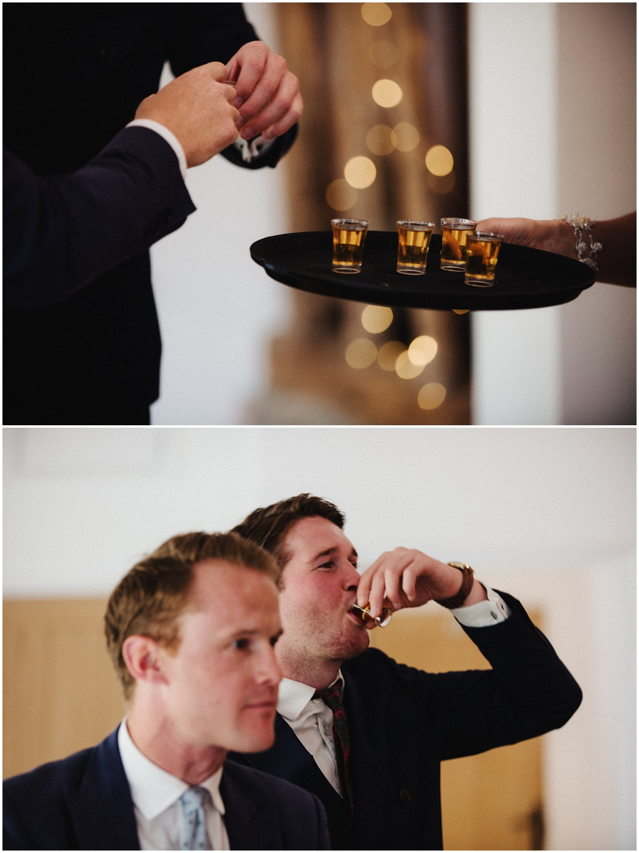 The guests drink shots during the speeches