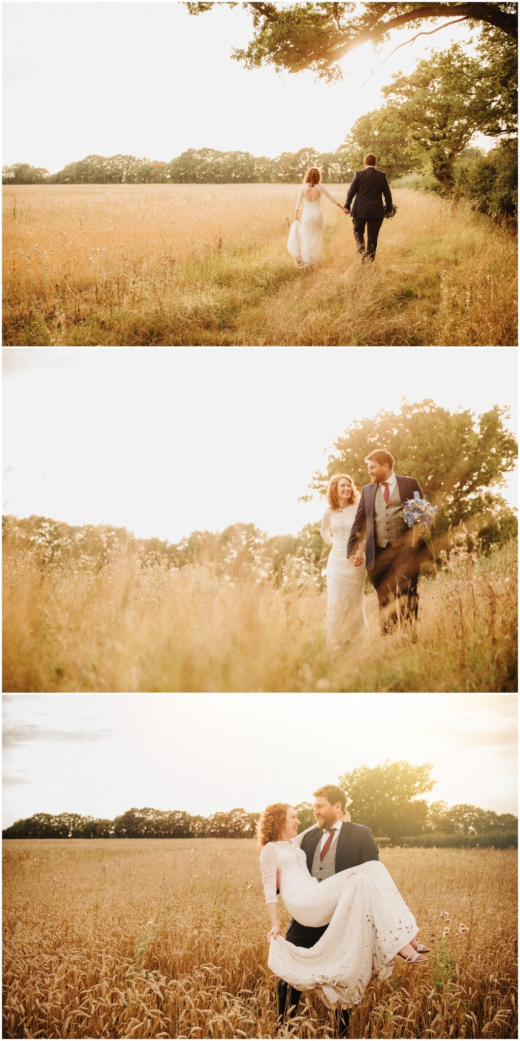 Sunset shots of the bride and groom in a field