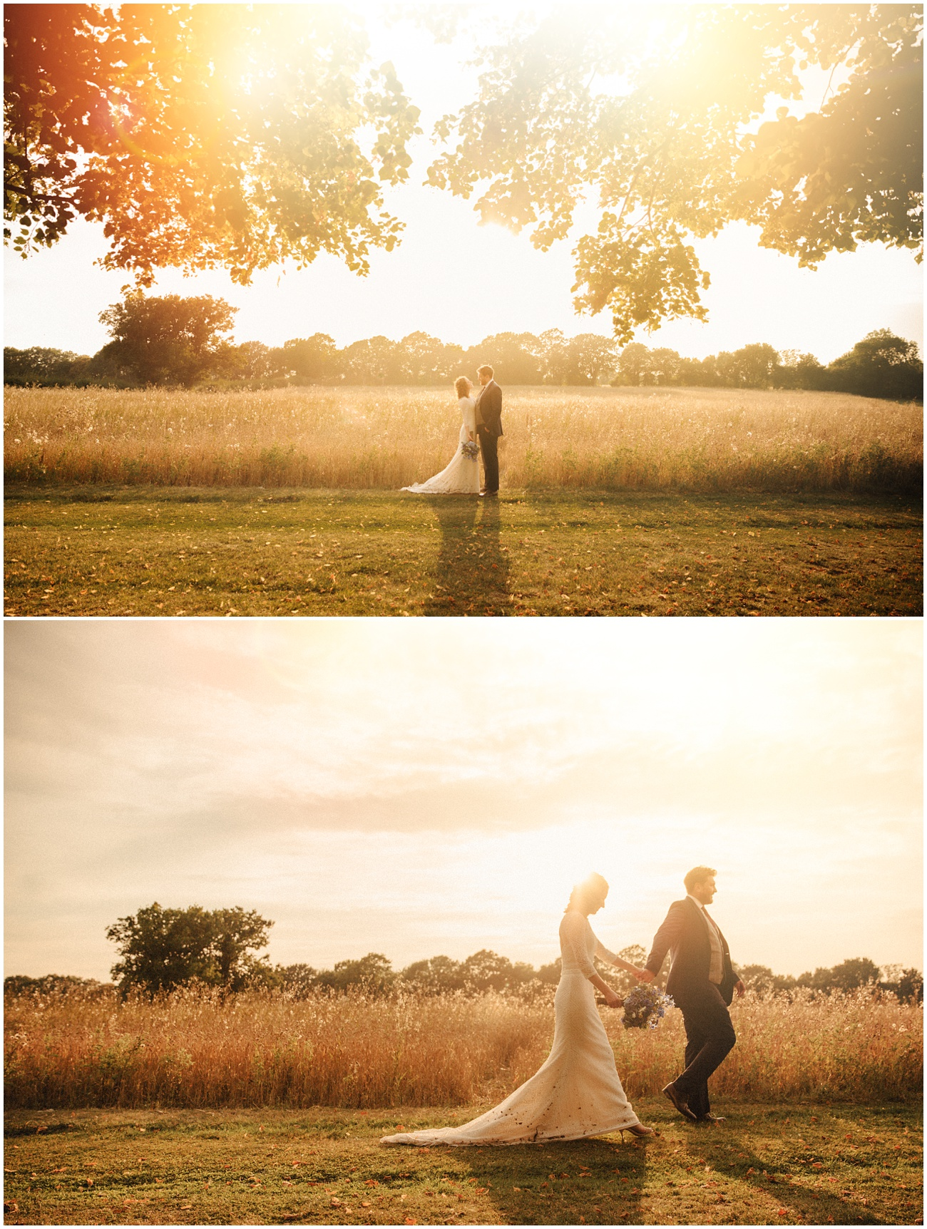 The bride and groom embrace each other during sunset