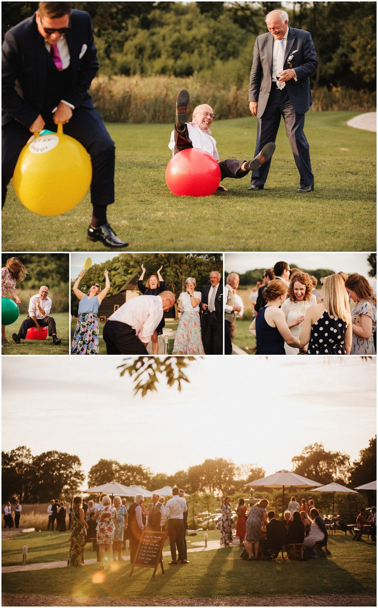 The wedding guests enjoy the sunshine and play lawn games