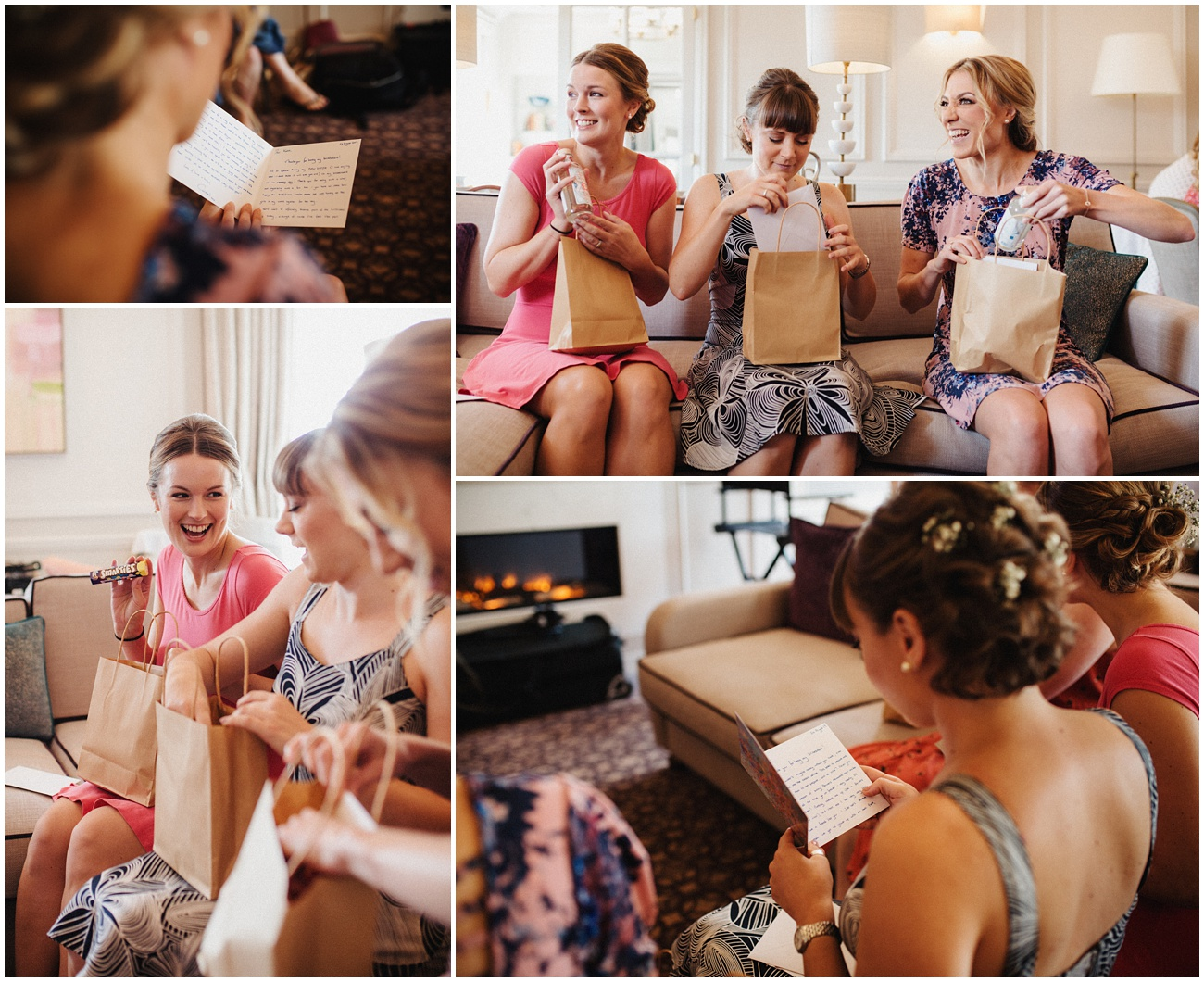 The bridesmaids open their gifts from the bride in their hotel room