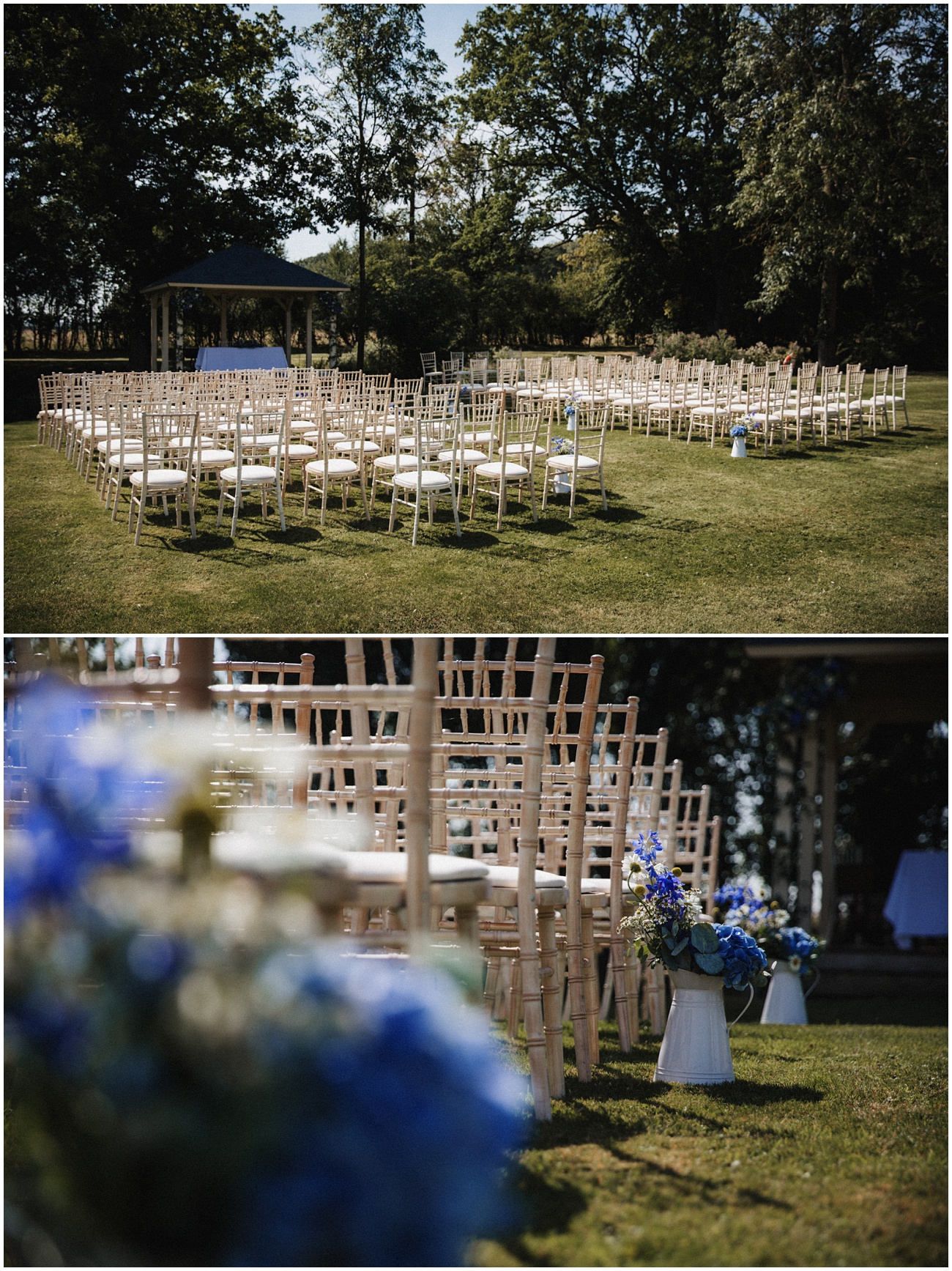 The wedding chairs lined in front of the pagoda ready for the outdoor wedding