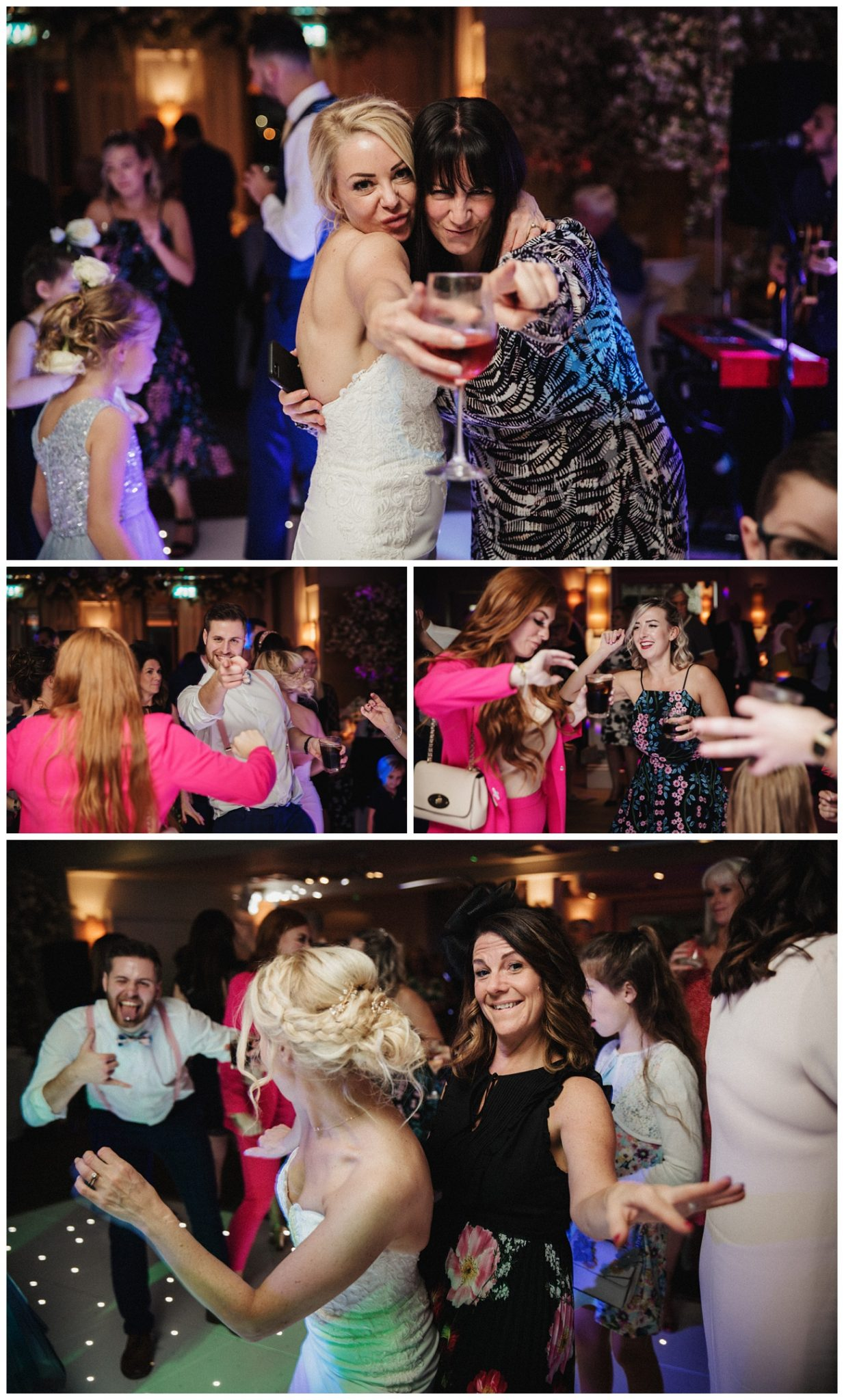 The bride dances with her guests on the dance floor