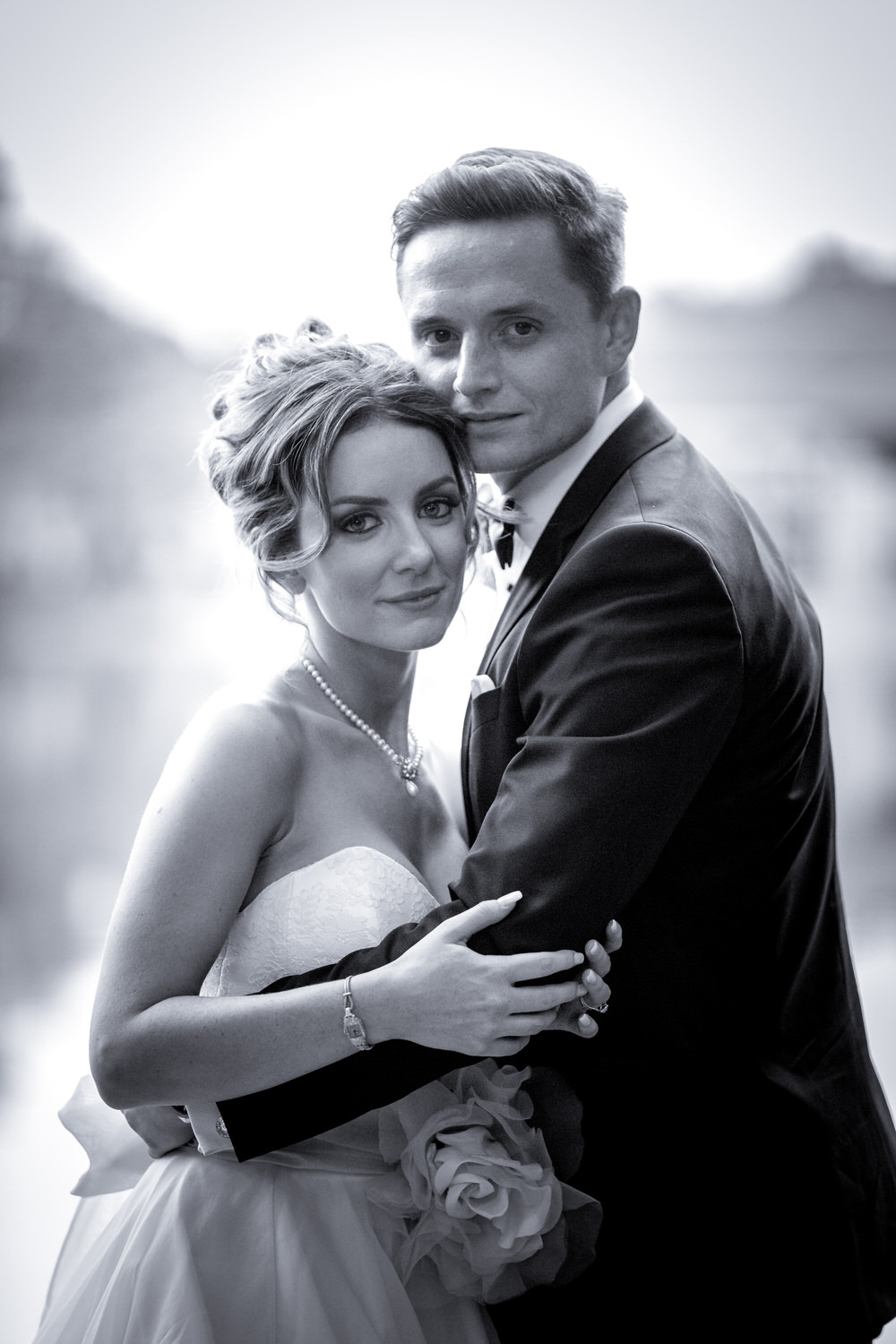 Black and white portrait of the bride and groom