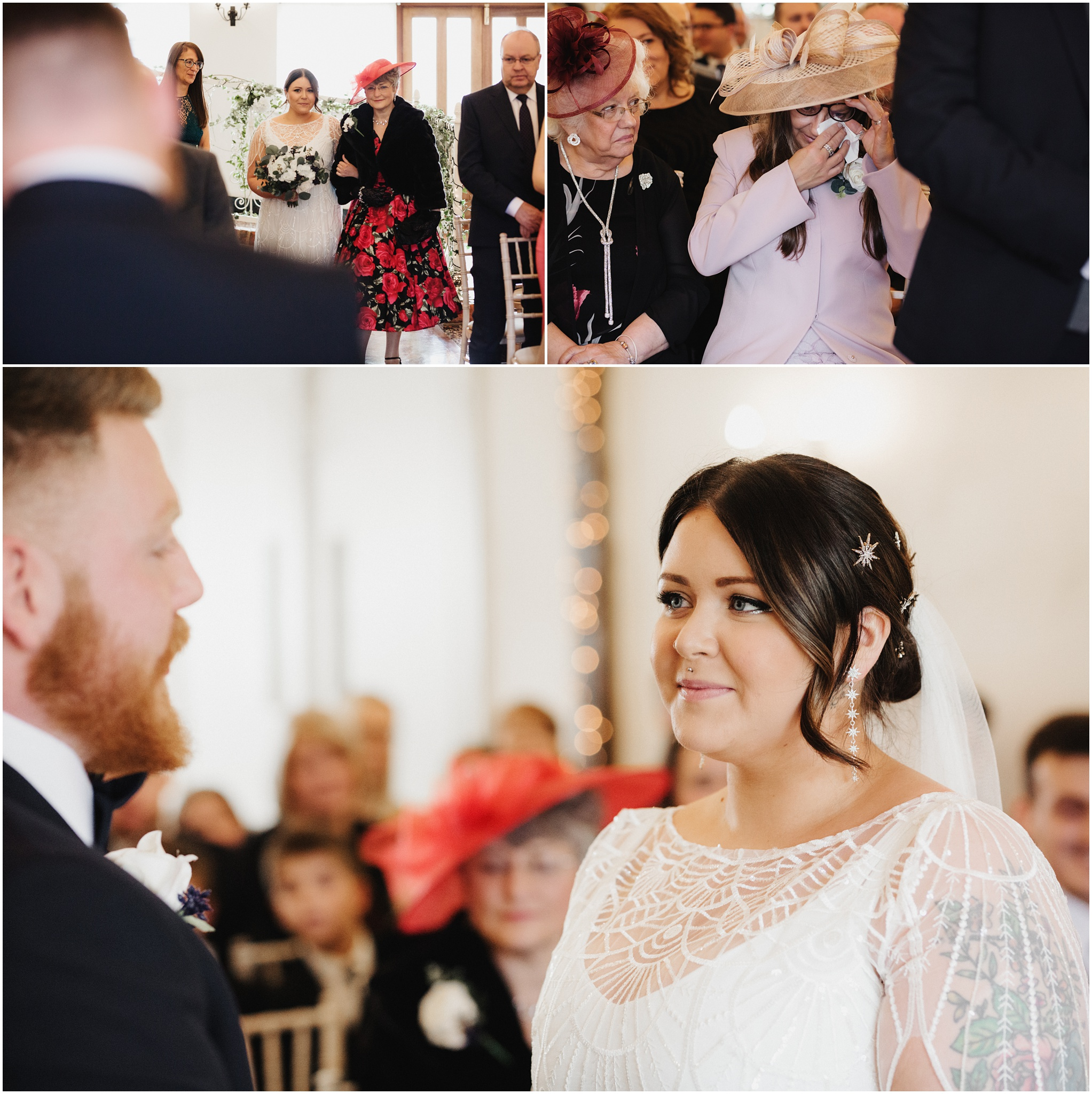 The bride walks down the aisle with her mum and the grooms mum gets emotional when they see each other for the first time