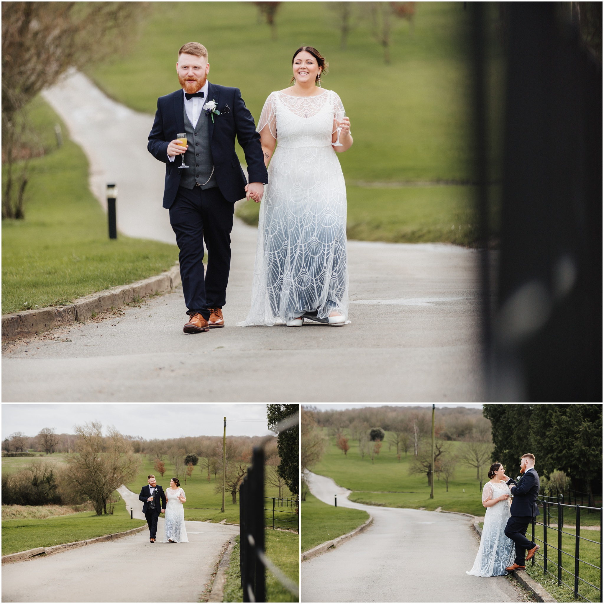 The bride and groom walk along the path and joke while having a drink